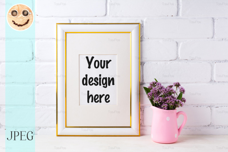 Free Gold decorated frame mockup with purple flowers in pink rustic pitcher (PSD Mockups)