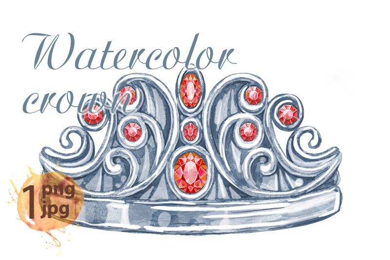 watercolor-silver-crown-princess-with-precious-stones-ruby