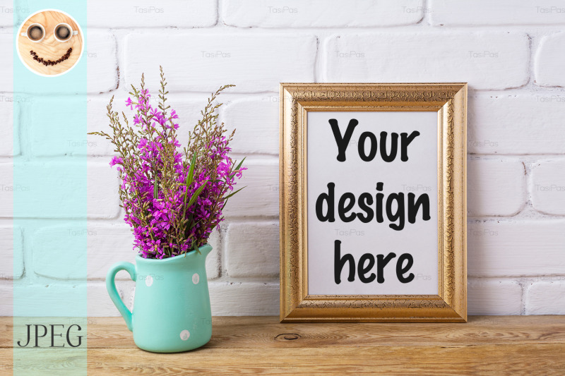 Free Golden frame mockup with maroon purple flowers in mint pitcher (PSD Mockups)