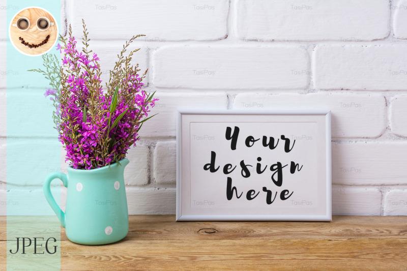 Free White frame mockup with maroon purple flowers in mint pitcher (PSD Mockups)