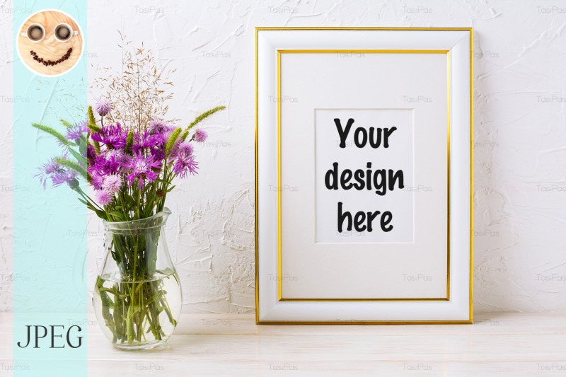 Free Gold decorated frame mockup with purple burdocks in glass (PSD Mockups)