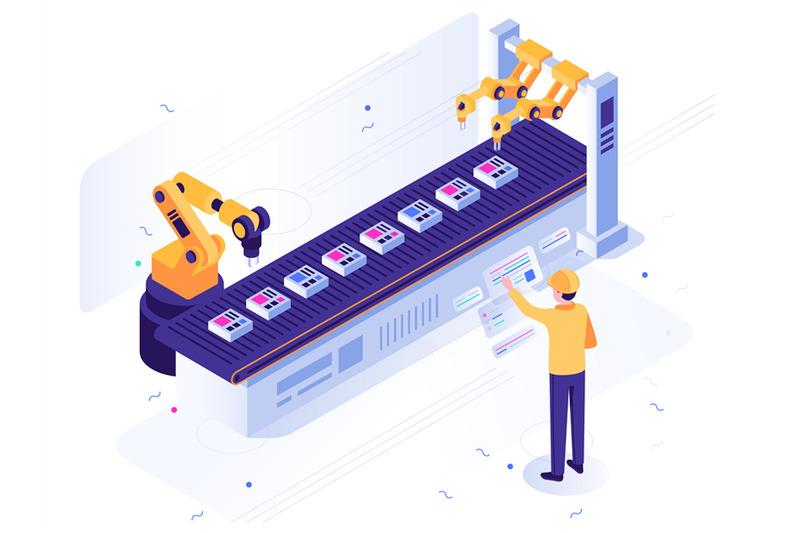 isometric-robotic-factory-engineer-operates-robotic-conveyor-automat