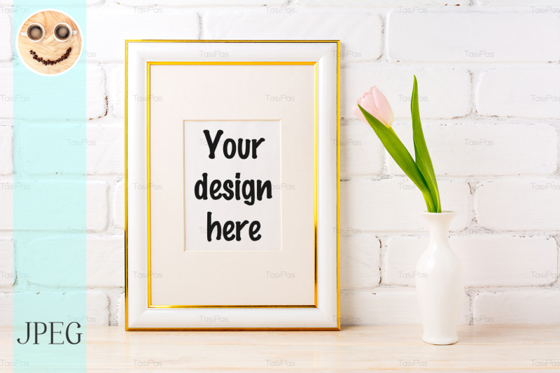 gold-decorated-frame-mockup-with-pale-pink-tulip-in-vase