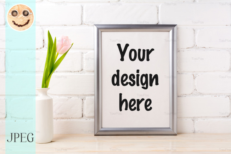 silver-frame-mockup-with-tender-soft-pink-tulip