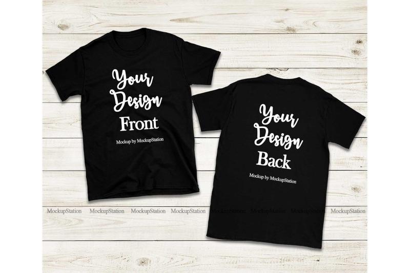 Free Front & Back Black Tshirt Mockup, Gildan 64000 Shirt Mock Up (PSD Mockups)