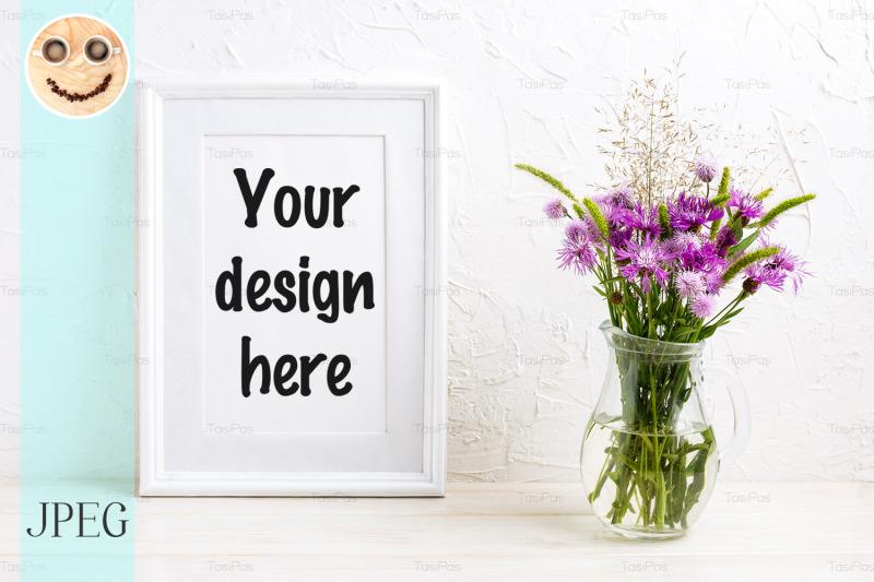 Free Poster frame mockup with purple burdock (PSD Mockups)