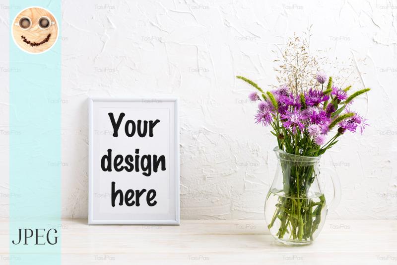 Free Small frame mockup with burdock flowers (PSD Mockups)