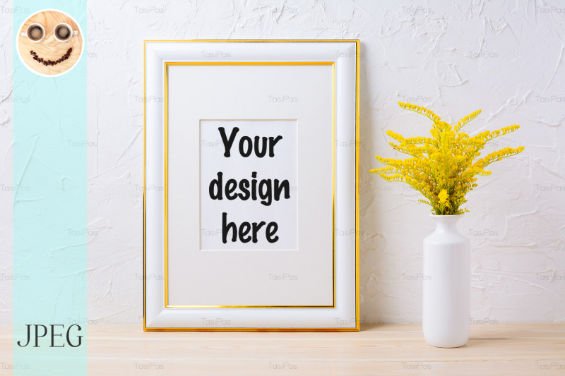Free Gold decorated frame mockup with ornamental yellow flowering grass in (PSD Mockups)