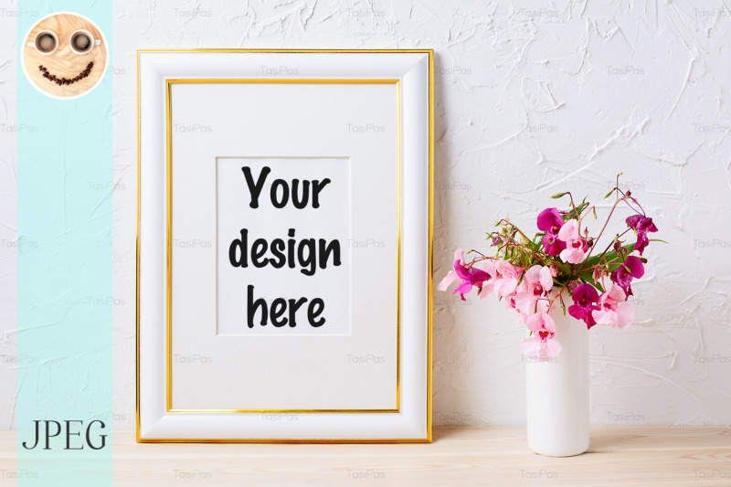 Free Gold decorated frame mockup with pink and purple flower bouquet (PSD Mockups)