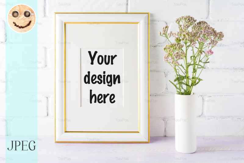 Free Gold decorated frame mockup with pink flowers in cylinder vase (PSD Mockups)