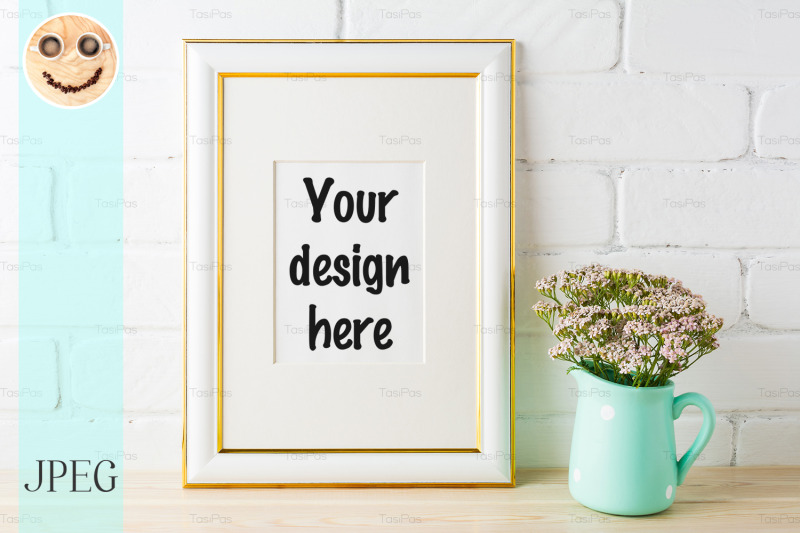 Free Gold decorated frame mockup with soft pink flowers and bricks (PSD Mockups)