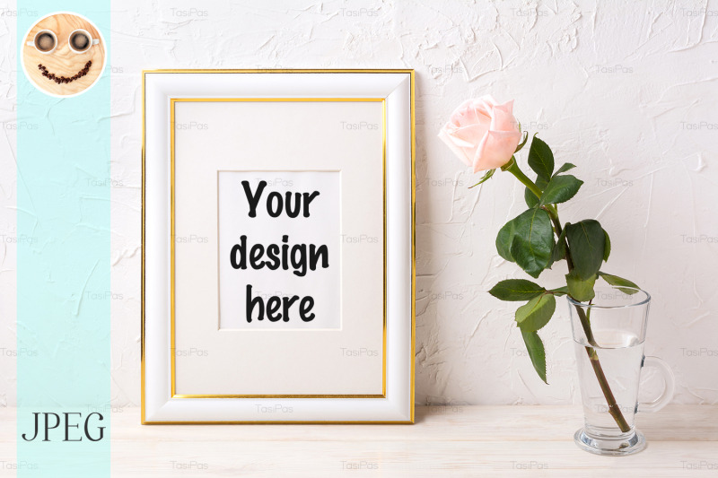Free Gold decorated frame mockup with tender pink rose in glass (PSD Mockups)