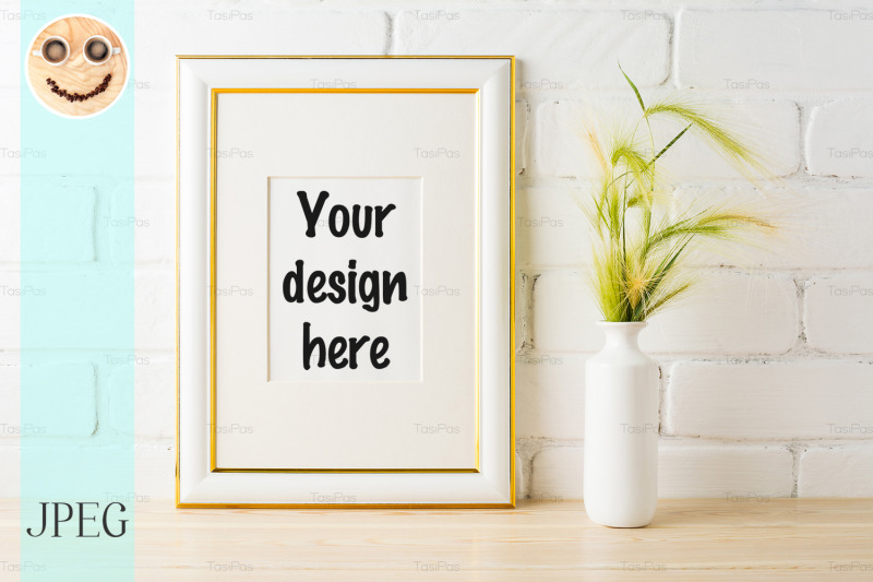 Free Gold decorated frame mockup with yellow green wild grass ears (PSD Mockups)