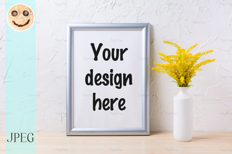 Free Silver frame mockup with ornamental yellow flowering grass in vase (PSD Mockups)