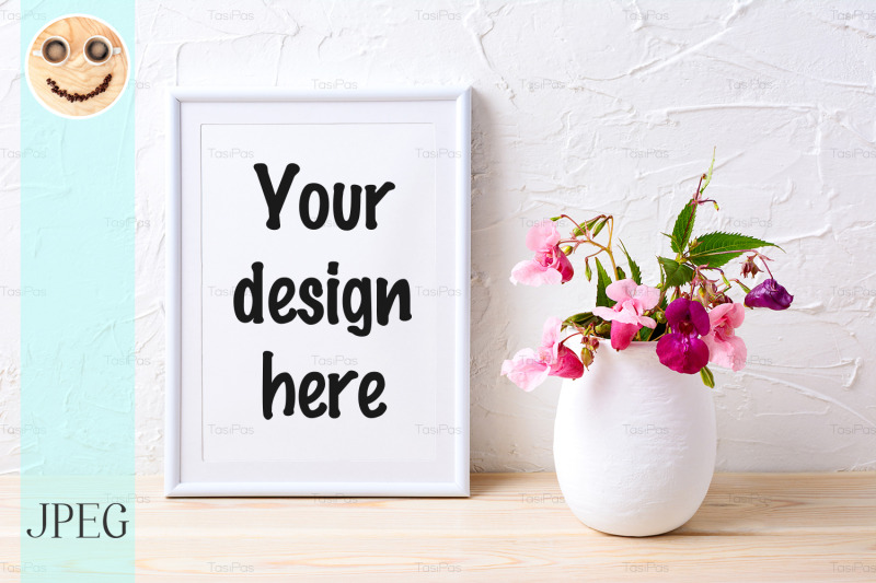 white-frame-mockup-with-pink-house-plants-in-flowerpot