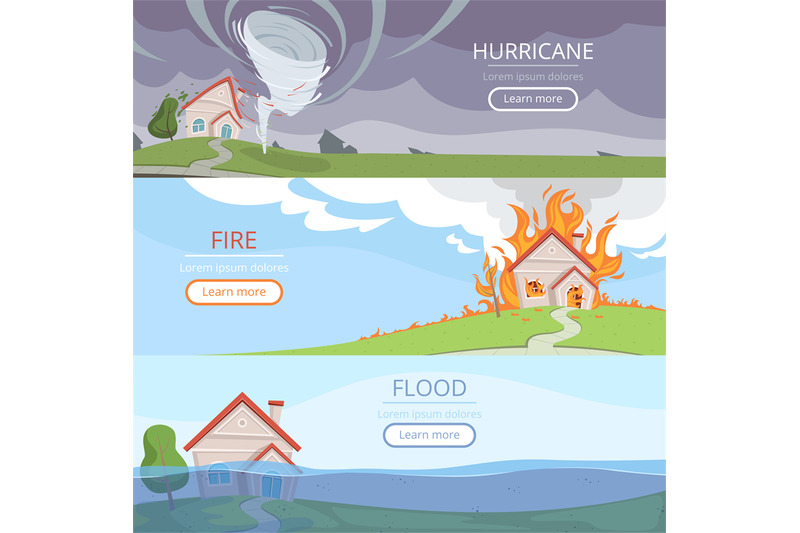 disaster-weather-banners-tsunami-volcano-wind-storm-rain-house-damage