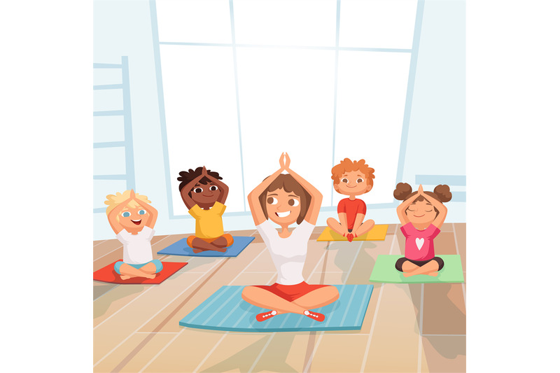 yoga-kids-group-children-making-exercises-with-instructor-in-gym-vect