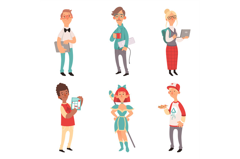 geek-characters-girl-and-boys-nerd-computer-technology-lovers-vector