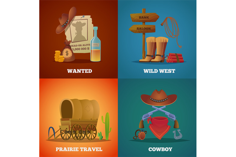 wild-west-collections-western-cowboys-horse-lasso-saloon-and-guns-vec