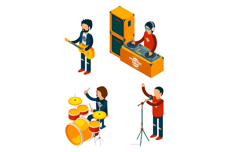 music-entertainment-isometric-singer-rock-musician-crowd-drummer-viol