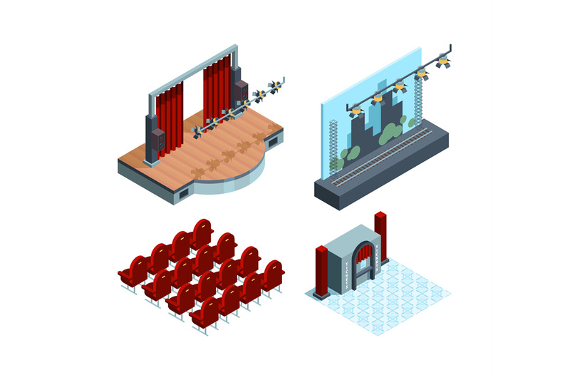 theater-stage-isometric-opera-ballet-hall-interior-red-curtain-actors