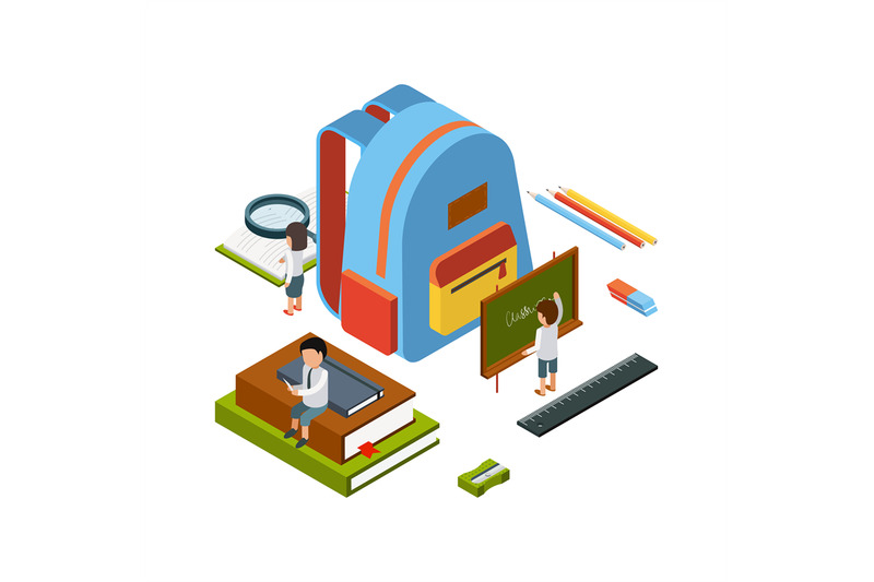 backpack-isometric-school-stationary-items-education-happy-people-col