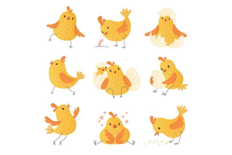 cartoon-chicken-egg-cute-yellow-little-farm-birds-funny-chick-vector