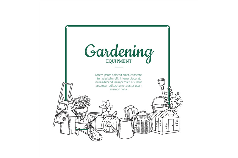 vector-gardening-doodle-icons-below-frame-with-place-for-text-illustra