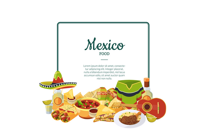 vector-cartoon-mexican-food-below-frame-with-place-for-text-illustrati