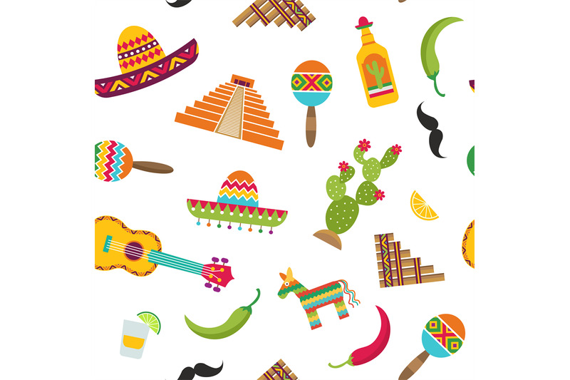 vector-flat-mexico-attributes-pattern-or-background-illustration