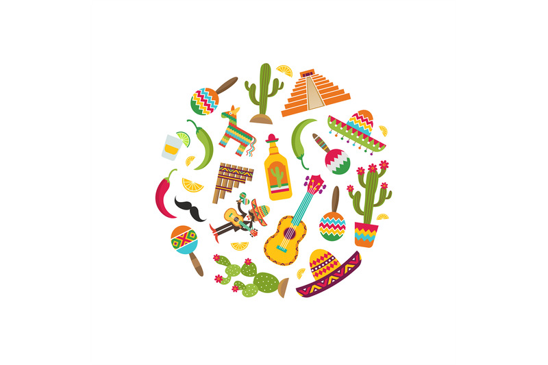 vector-flat-mexico-attributes-in-circle-shape-illustration