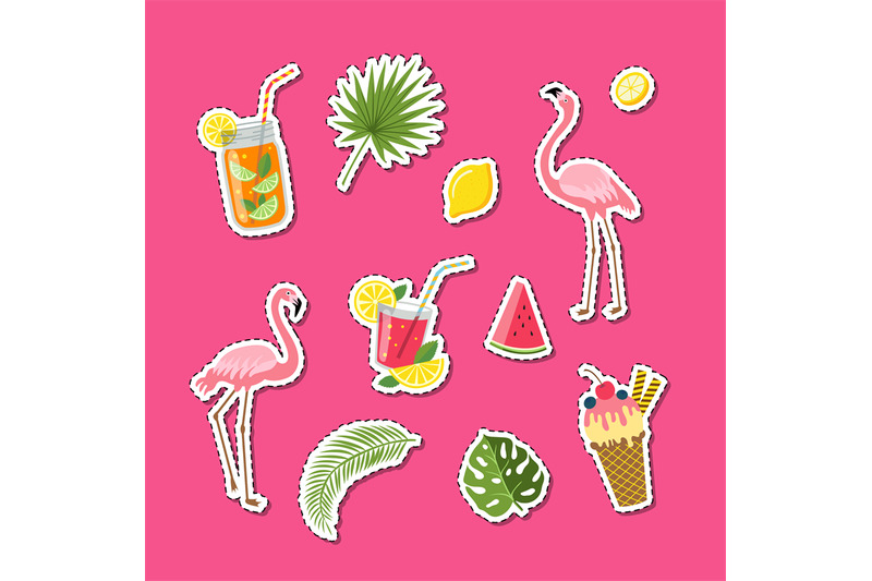 vector-flat-cute-summer-elements-cocktails-flamingo-palm-leaves-sti