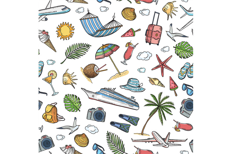 vector-hand-drawn-summer-travel-elements-background-or-pattern-illustr