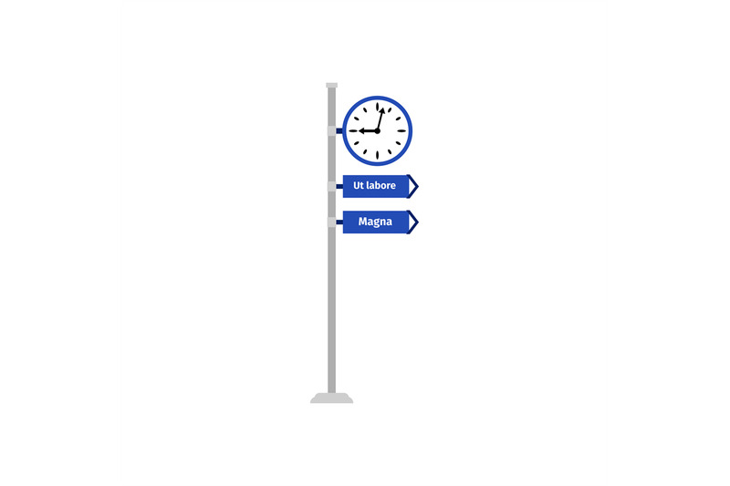 road-direction-sign-with-clock