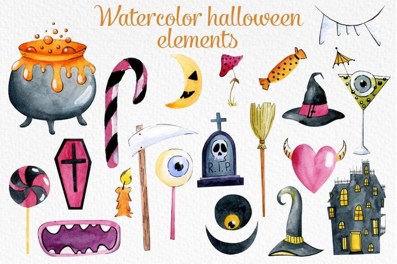 watercolor-halloween-elements