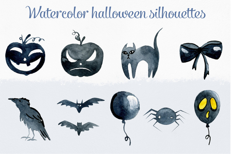 watercolor-halloween-silhouettes