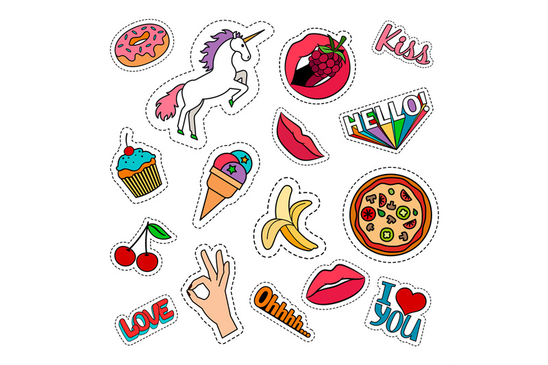 funny-food-stickers-set