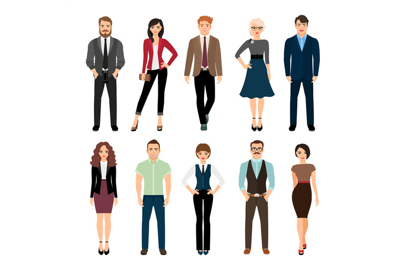 casual-office-people-icons-set