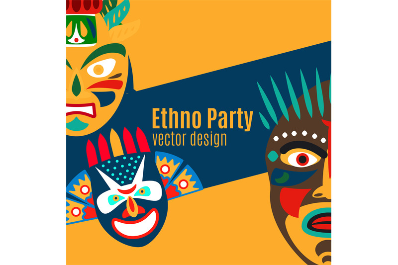 ethno-party-card-with-cartoon-masks
