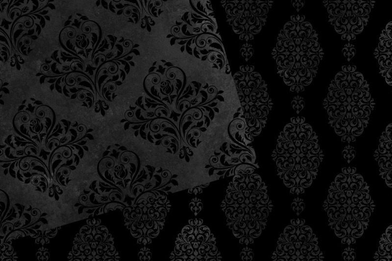 black-damask-digital-paper