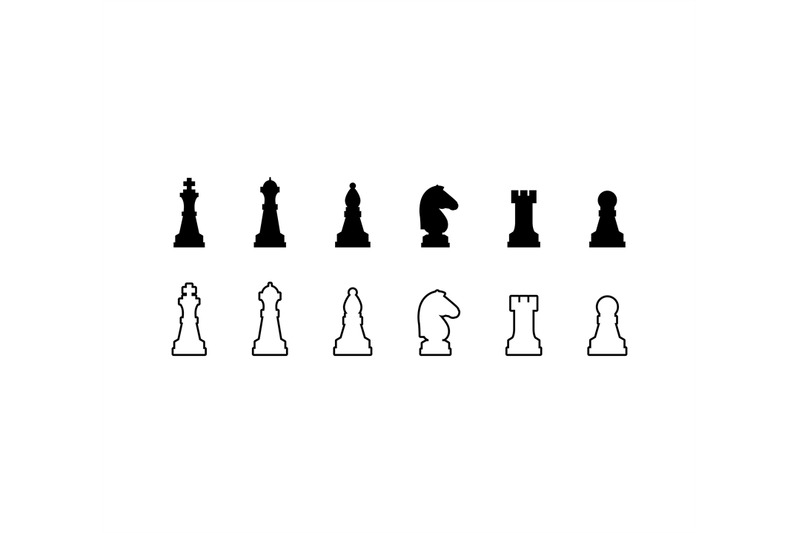 chess-pieces-black-and-white-icons