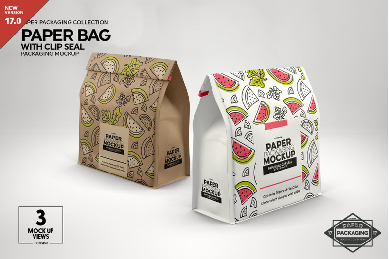 Free Paper Bags with Clip Seal Packaging Mockup (PSD Mockups)
