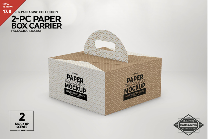 Free 2pc Paper Box Carrier Packaging Mockup (PSD Mockups)