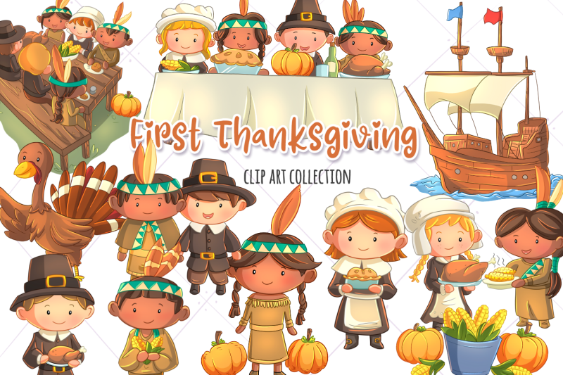 first-thanksgiving-clip-art-collection