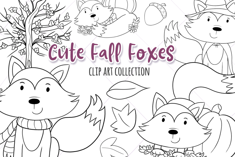 cute-fall-foxes-digital-stamps