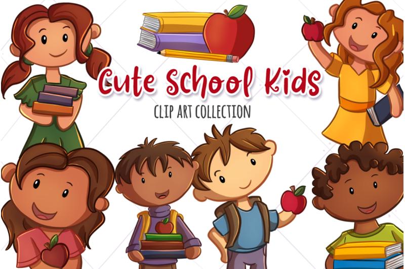 cute-school-kids-clip-art-collection