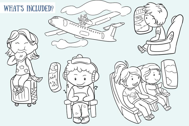 airplane-travel-digital-stamps
