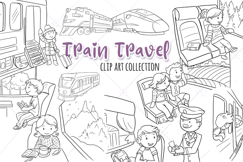 train-travel-digital-stamps