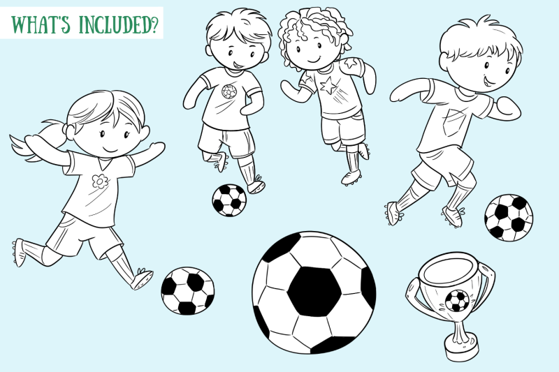 playing-soccer-digital-stamps