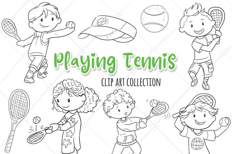 playing-tennis-digital-stamps